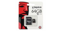 64 GB Speicher Micro SD Karte Kingston + SD Adapter, KLASSE 10